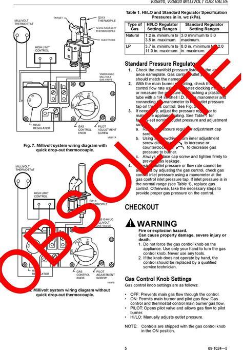 obsolete vs8510 vs8520 millivolt gas valve pdf