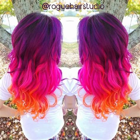 purple hot pink  orange hair color