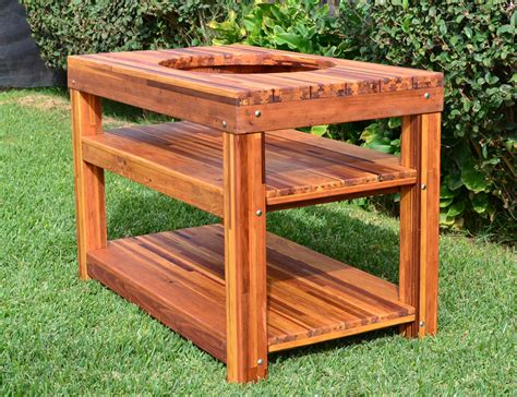 outdoor wood table with built in grill storage forever