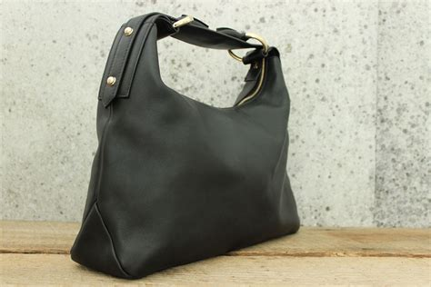 gucci black leather horsebit hobo