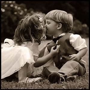 couple, cute, kids, kiss, vintage, young love - image ...