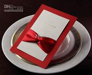 wholesale wedding invitation card red with ribbon tie With wedding invitation ribbon tying