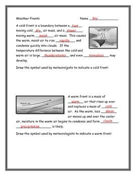Weather Fronts Worksheet By Annette Hoover  Teachers Pay Teachers