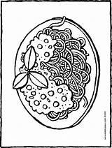 Spaghetti Plate Sauce Colouring Drawing Kiddicolour sketch template