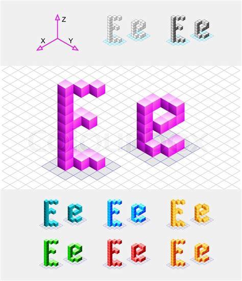 Isometric Font From The Cubesletter E Vector Stock