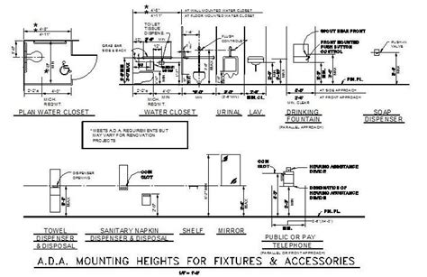 Ada Restroom Sign Mounting Height by Dda Mounting Heights Cad Drawing Cadblocksfree Cad
