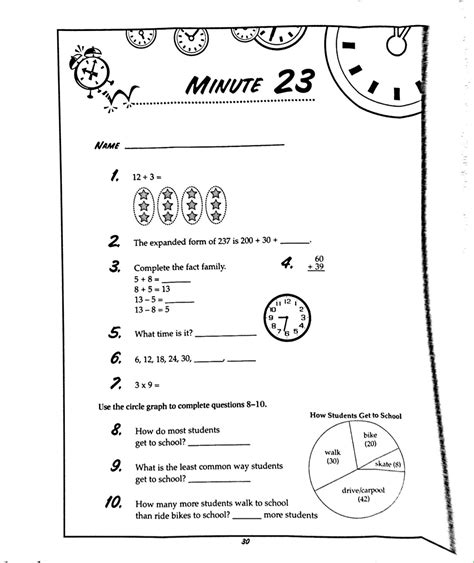 3rd grade math minute worksheets telling time clock