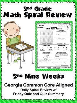 grade math spiral review  quarter  door
