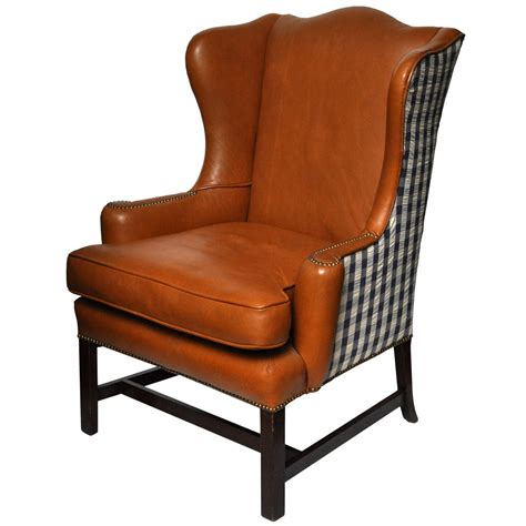 reclining wingback leather wing chair at 1stdibs