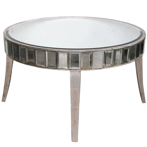 Shimmering American Mirrored Cocktail Table With Silver