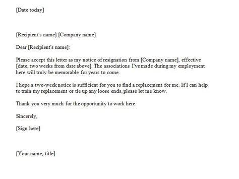 weeks notice  jobs resignation letter