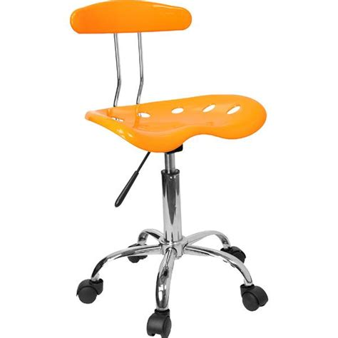 vibrant orange yellow and chrome computer task chair with
