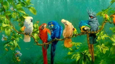 Famous Art Desktop Wallpaper Colorful Parrot Birds On The Tree Oil Painting Wallpaper Wallpaper Studio 10 Tens Of