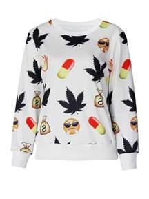 BrytCouture Weed and Pill Emoji Print Cartoon Sweatshirt White