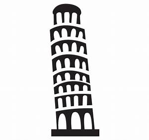 Tower Of Pisa Landmark Clip Art For Custom Engraved ...