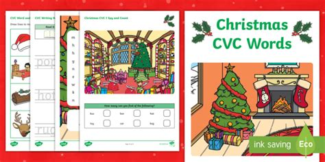 * New * Christmas Cvc Word Activity Booklet  Phase 2, Phonics