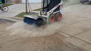 Bobcat S70 With 48 U0026quot  Angle Broom Sweeping Driveway