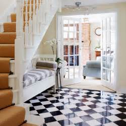 black and white checks hallway flooring ideas