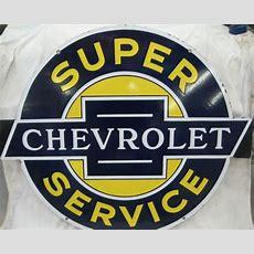 Chevrolet Super Service Porcelain Sign  Antique Porcelain