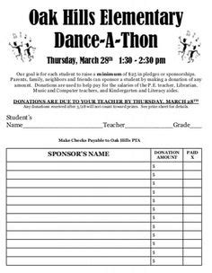 dance  thon pledge form dr greens dance  thon book