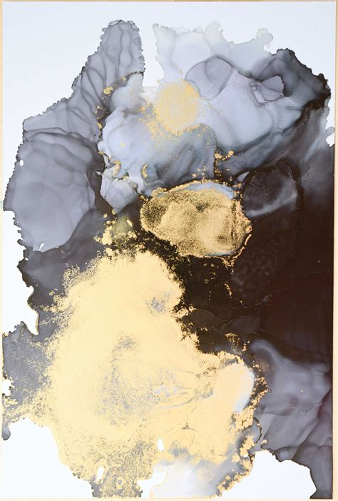 Abstract Black And Gold Galaxy Alcohol Ink Watercolor