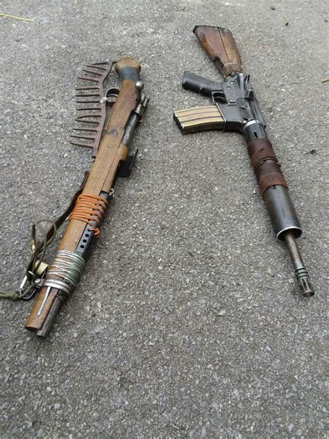 apocalyptic weapons guns apocalypse zombie homemade mad cool max rifles rifle weapon firearms bolt survival ar custom knife ammo build