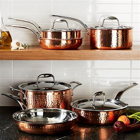 lagostina martellata hammered copper  piece cookware set crate  barrel