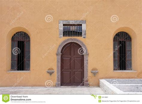 typical mexican yellow facade stock image image  miguel building