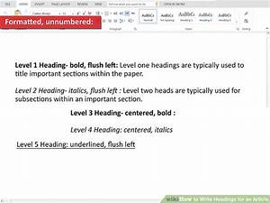 How To Write An Apa Paper Step By Step 4 Ways To Write Headings For An Article Wikihow