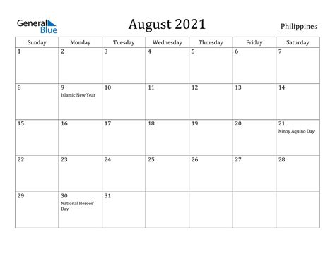 august  calendar philippines