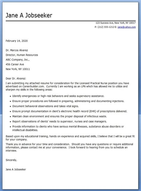 Cover Letter For The Resume by Lpn Cover Letter For Resume Resume Downloads