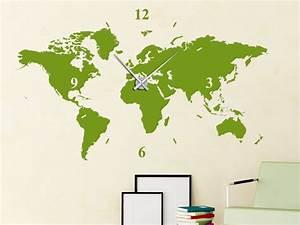 Wandtattoo Uhr Weltkarte Wanduhr Welt von Wandtattoo net