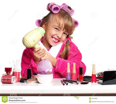 little girls makeup table makeup little royalty free stock photography image