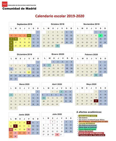 calendario escolar en la comunidad de madrid