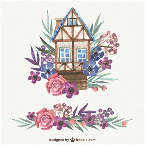 watercolor cute house  flowers vector