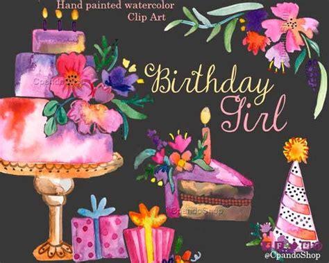 girly birthday watercolor clip art baby girl invitations