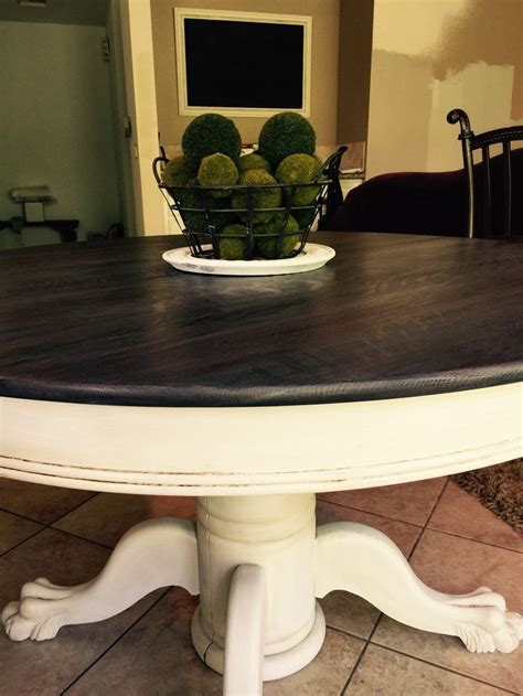refinished clawfoot table sanded top restained  mix