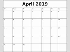 April 2019 Blank Monthly Calendar Template