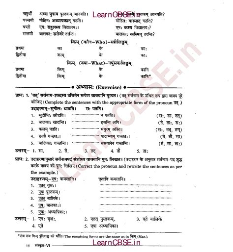 Sanskrit Vyakaran Class 6 सर्वनाम शब्द रूपाणि तथा वाक्य प्रयोगः