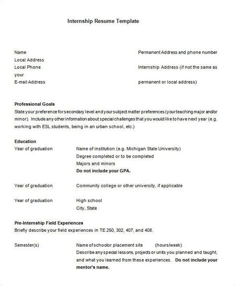 Chronological Resume Internship by Internship 3 Resume Templates Free Resume Sles