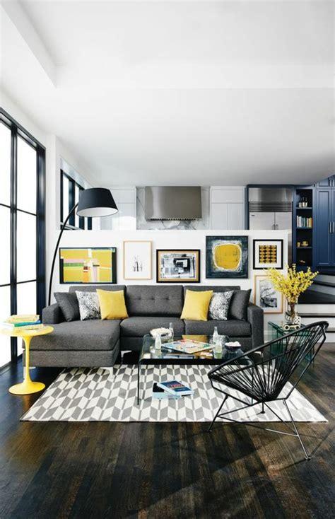 variantes de salon gris  jaune pour vous inspirer