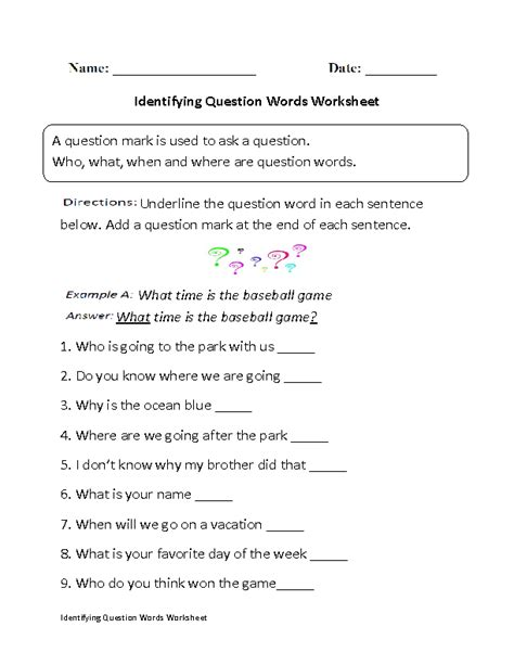 identifying question words worksheet grammer
