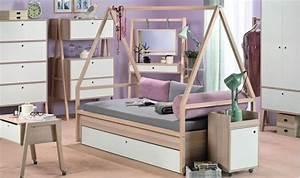 Lit Tipi Enfant : lit baldaquin mobile blanc et bois d 39 acacia chambre adolescent ~ Teatrodelosmanantiales.com Idées de Décoration