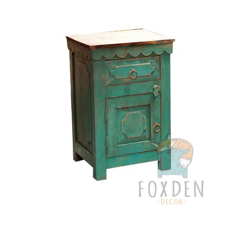 buy and unique turquoise nightstand
