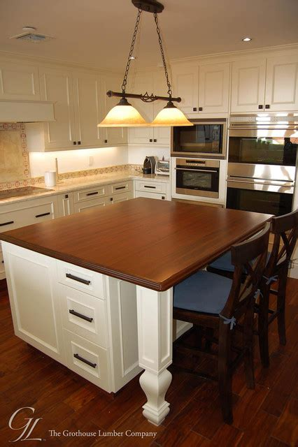 Custom Sapele Mahogany Wood Kitchen Island Countertop