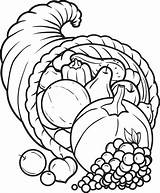 Cornucopia Coloring Thanksgiving Pages Printable Drawing Fall Template Sheets Drawings Templates Pencil Children Turkey Sketch Kindergarten Adult Preschool Colouring Printables sketch template