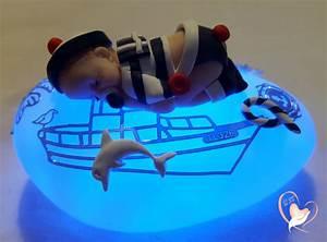 Veilleuse Bebe Garcon : veilleuse galet lumineux b b gar on marin bleu et blanc au coeur des arts cadeaux de ~ Teatrodelosmanantiales.com Idées de Décoration