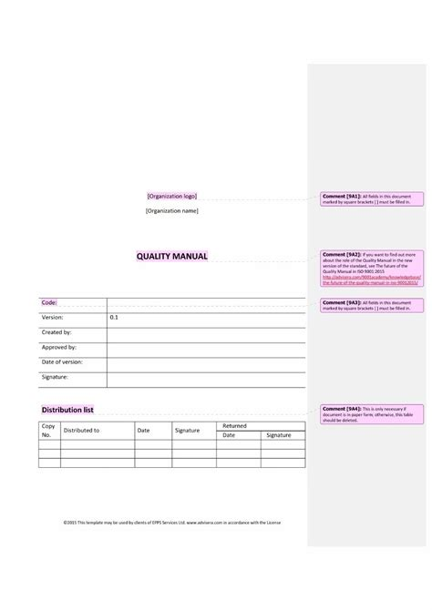 quality manual template writing a quality manual