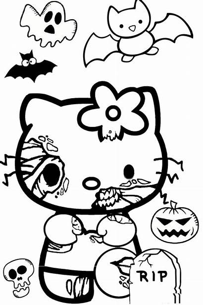 Coloring Pages Scary Spooky Kitty Hello Zombie