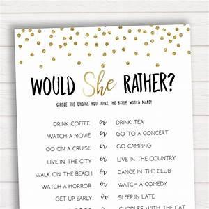 Would she rather bridal shower game bridal shower game for Wedding shower games ideas